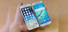 Foto de un iPhone (IOS) y un Samsung (Android)