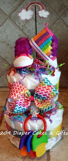 Rainbow Diaper Cake for Baby Girl Shower by 209DiaperCakes on Etsy