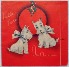 #462 30s Scottie Dog- Vintage Christmas Greeting Card