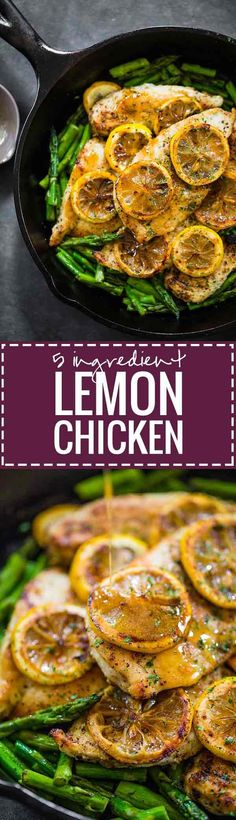 5 Ingredient Lemon Chicken with Asparagus - a bright, fresh, healthy recipe that\'s ready in 20 minutes! 300 calories. | pinchofyum.com(Chicken Thighs Asparagus)