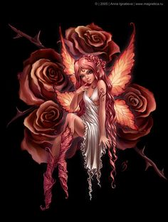 Beautiful fairy tattoo idea....I would just change two of those roses to skulls.