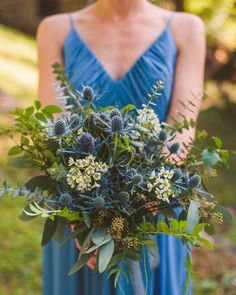 Blue thistle wedding bouquet in 2019 thistle Boquette Wedding, Wedding Flower Guide, Blue Wedding Flowers, Wedding Flower Arrangements, Wedding Colors, Floral Arrangements, Wedding Blue, Trendy Wedding, Wedding Ideas