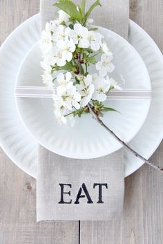 "Apple Blossom... Lovely Napkin Idea... Cute made out of burlap w/ word ""Eat"""