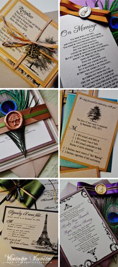 Vintage Invites Vintage Wedding invitations browns and greens