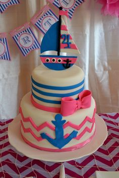 What a great cake at a Nautical Birthday Party! See more party ideas at CatchMyParty.com!