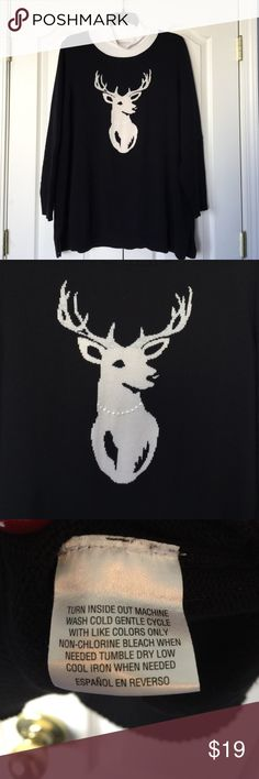 Elegant Deer sweater Elegant Deer sweater. Close up of deer wearing a pearl necklace in picture 2. Fabric content is 58% cotton, 40% acrylic, 1% metallic and 1% other fibers.  Laundry care shown in pit3. Back shown in picture 4. Worn twice to Christmas gatherings. Charter Club Sweaters Crew & Scoop Necks