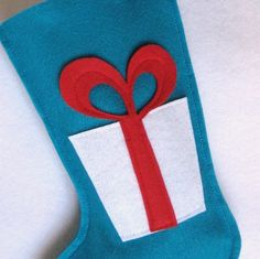 Eco Felt Christmas Stocking  Gift with Bow in by stitcholicious, $17.00