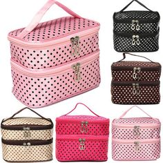 Travel Dot Makeup Cosmetic Organizer Housse de lavage Zip Bag With Mirror