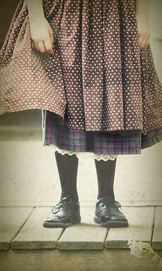 Skirts. layers - I like the polka dot and plaid together.  cute for a fall look!