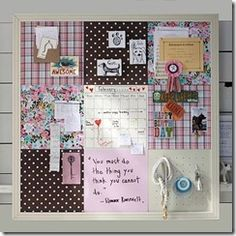 I love this covered cork board frame idea From Goddessofgifts blogspot
