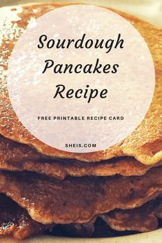 Sourdough Pancakes Recipe Yields 4+ servings or about 10 small pancakes Ingredients: 2 cups fresh sourdough starter 1 egg (sometimes I add an extra egg for added protein) 3 Tbsp. sugar or natural sugar substitute (Xylitol, honey, etc.) 2 Tbsp. melted coconut oil ¼ tsp. salt 1 tsp. vanilla extract 1 tsp. baking soda ½ Tbsp cinnamon (optional) Optional fixings – pecans, bananas, chia seeds, chocolate chips, pumpkin, etc. Butter or coconut oil for frying