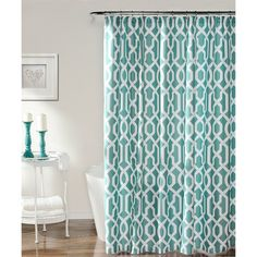 Lush Décor Blue Edward Trellis Shower Curtain ($25) ❤ liked on Polyvore featuring home, bed & bath, bath, shower curtains and blue shower curtains