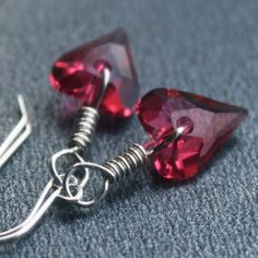 Indian Pink, Wild Hearts, Sterling Silver Wire Wrapped Earrings