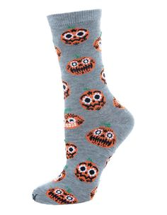 Funky Pumpkin Halloween Crew Socks by MeMoi Spooky Pumpkin, Pumpkin Faces, Halloween Pumpkins, Holidays Halloween, Crew Socks, Heather Grey, How To Make, How To Wear, Casual