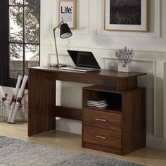 Enjoy exclusive for DKLGG Office Computer Desk, Modern Simple Style Desk, Wooden Table MDF Material/Writing Study Table 2 Side Drawers Classic Home Office Laptop Desk Writing, Study, Walnut online - Findamazingstar - - Computer Desk With Shelves, Home Office Computer Desk, Pc Desk, Laptop Desk, Desk Shelves, Home Office Furniture, Shelf, Laptop Table, Garden Furniture