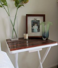 Updated TV Tray into Side Table - painted white with stained wooden planks on top.