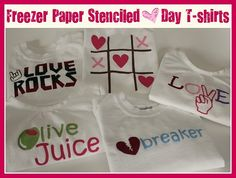 Freezer Paper t-shirts - olive juice is my fav!