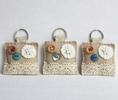 Vintage Felt Button Keyring