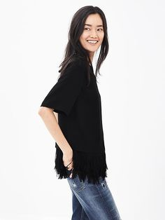 Crepe Fringe Top | Banana Republic
