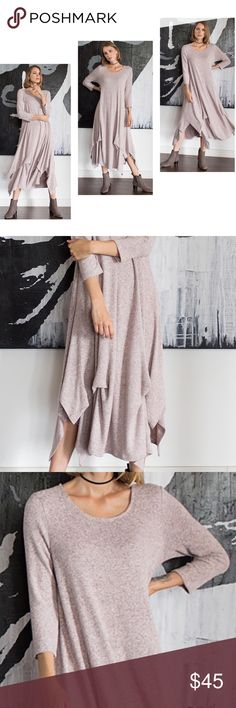 """🆕🆕🆕Brushed Hacci Sweater Dress Gorgeous Blush extremely soft (Hacci) Sweater Knit Dress. 3/4 Sleeve with Round Neck, Tucked Seam Detail, Handkerchief Hem, Midi Sweater Dress. 79% Rayon 17% Polyester 4% Spandex. Measurements taken flat and are approx. ; Bust S-18"""" M-19"""" L-20"""" Length S-40"""" M-41"""" L-42"""" Oversized fit. Angelique's Atelier Dresses Midi"""