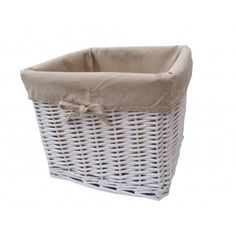 White Wicker Deep Storage Basket Square   Lined