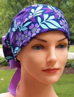Surgical Scrub Cap or Cancer Hat Perfect Fit Tie by thehatcottage