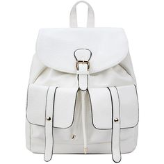 Yoins Two Front Pockets Leather-look Backpack in White ($43) ❤ liked on Polyvore featuring bags, backpacks, yoins, backpack, white, white backpack, fake leather backpack, backpack bags, rucksack bags and faux leather rucksack
