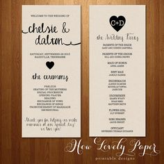 Printable Wedding Program - Double-Sided, Front and Back on Etsy, $15.00