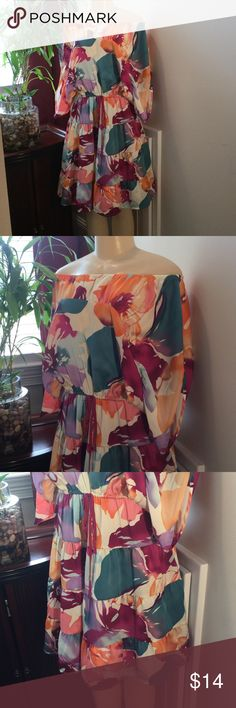 Loft Dress Loft off the shoulder, with butterfly arms great summer colors.  Drawstring at the waist.  100 polyester,. Bundle and Save. Reasonable offers accepted.size medium LOFT Dresses Midi