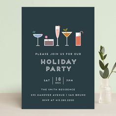 """""""Festive Cocktails"""" - Modern, Simple Holiday Party Invitations in Navy by Bethan. Holiday Party Invitation Template, Event Invitation Design, Corporate Invitation, Christmas Party Invitations, Invitation Ideas, Reunion Invitations, Birthday Invitations, Festive Cocktails, Blue Cocktails"""