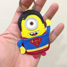 Handmade Superman Minion leather keychain , message me for ordering / pricing at Facebook : beon kan