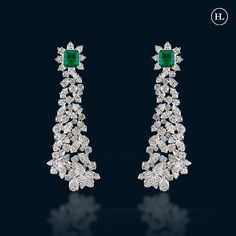Real Diamond Earrings, Emerald Earrings, Diamond Jewellery, Jewellery Box, Jewelry Sets, Hazoorilal Jewellers, Jewellery Designs, Emeralds, Designer Earrings