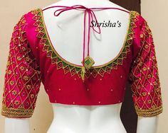 embroidery blouse design from Shrishas. Wedding Saree Blouse Designs, Pattu Saree Blouse Designs, Blouse Designs Silk, Designer Blouse Patterns, Choli Designs, Dress Designs, Maggam Work Designs, Simple Blouse Designs, Fancy