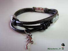 Schlangenkopf-Armband, Leder, braun von Bijouxbaron_24 auf DaWanda.com