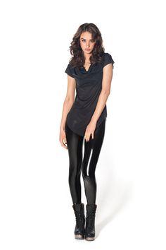 New Slicks Black PVC Leggings by Black Milk Clothing