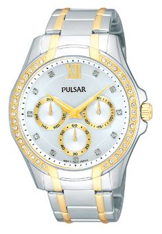 Ladies watch with a two-tone stainless steel case and bracelet. Accented with gold-tone highlights and Swarovski crystals. 30 meters water resistant. PP6100 www.pulsarwatchesusa.com
