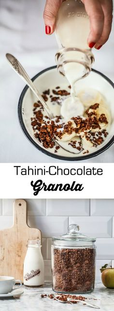 This recipe for tahini-chocolate granola is refined sugar-free, gluten-free, and dairy-free and can be made vegan and it tastes sooo goood!