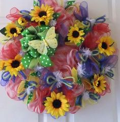 Summer Wreath, Wreath Sunflowers and Butterfly, Summer Deco Mesh ...