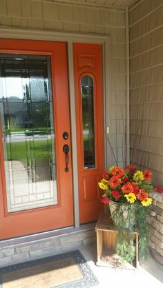 Orange Door Grey House Love It With The White Trim