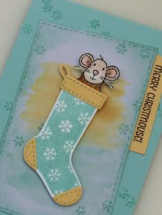 Merry Mice and stocking from Stampin' Up Can also have mouse peeking out of jeans pocket stamp, with rivets or brads on the corner of pocket. Christmas Cards 2017, Stamped Christmas Cards, Stampin Up Christmas, Handmade Christmas, Holiday Cards, Christmas 2016, Fall Cards, Winter Cards, Stampin Up Weihnachten
