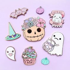 Halloween is commminggg | Love these Enamel Pins | Halloween Pins | Enamel Pins | Kawaii Kawaii Halloween, Stickers, Halloween Arts And Crafts, Jacket Pins, Kawaii Doodles, Pin Art, Cool Pins, Pin And Patches, Pin Badges
