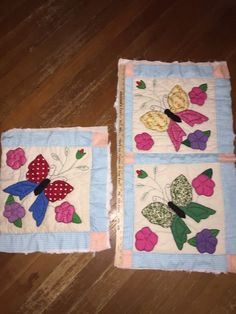 3 Vintage Handmade Patchwork Quilt Blocks Multi Colored Quilted Butterflies   eBay