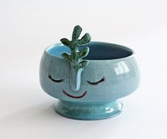 Blue smiling vase with green flower- wheel thrown, handmade ceramics, one of a kind vase