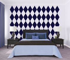 Diamond Pattern Wallpaper Wall Decal Custom Vinyl by danadecals, $65.00 Perfect for my Alice themed bathroom