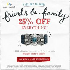 Last day to save with c+i's Friends + Family promo! Shop www.chloeandisabel.com/boutique/sarahbordenet