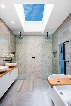 Modern Bathroom Design, Bathroom Interior Design, Skylight Bedroom, Skylight In Bathroom, Flat Roof Skylights, Double Shower Heads, Skylight Design, Roof Window, Bathroom Renos