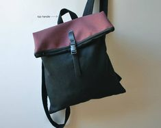 Convertible backpack Messenger bag Black Aubergine waterproof canvas Women bag Minimal college rucksack Stylish city bag Gift for her Beautiful Gifts For Her, Lightweight Backpack, Minimalist Bag, Waterproof Backpack, Convertible Backpack, Day Bag, Branded Bags, Canvas Leather, Leather Backpack