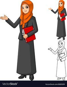 Muslim Businesswoman Wearing Orange Veil or Scarf vector image on VectorStock Student Cartoon, Teacher Cartoon, Simple Background Images, Best Photo Background, Cute Disney Drawings, Art Drawings For Kids, Female Character Design, Character Design Animation, Animated Teacher