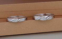 2 Rings-Free Engraving promise rings, Wedding Bands Couple Rings, Lovers rings, his and hers promise ring set, wedding rings, matching rings
