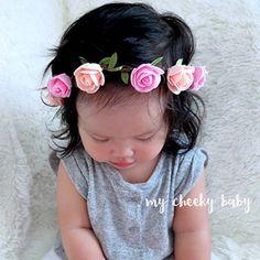Pink Flower Crown Headband for Girl Hair Accessories Fashion Boho Flower Headband Girl Photo Prop 1PC